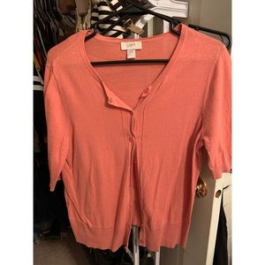 Light pink, short sleeve cardigan